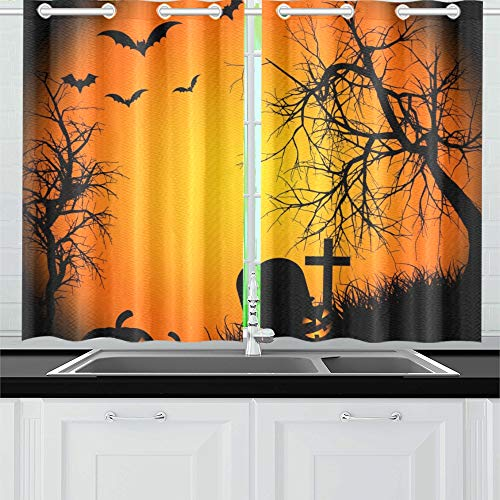 MOVTBA Halloween Ipad Wallpaper for Ipad Ipad Air R Kitchen Curtains Window Curtain Tiers for Café, Bath, Laundry, Living Room Bedroom 26 X 39 Inch 2 -