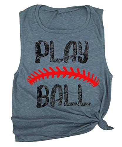 Play Ball Game Day Tank Top Women's Summer Letter Print Sleeveless Baseball Top Blouse Size XXL (Gray)