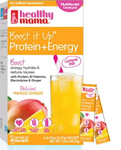 Healthy Mama Boost it Up! Caffeine Free Protein+Energy Drink Delicious Mango Ginger, 7g Protein, Fiber, Electrolytes, B-Vitamins & Ginger, Low Sugar/Calorie 6 Count Stick Packs