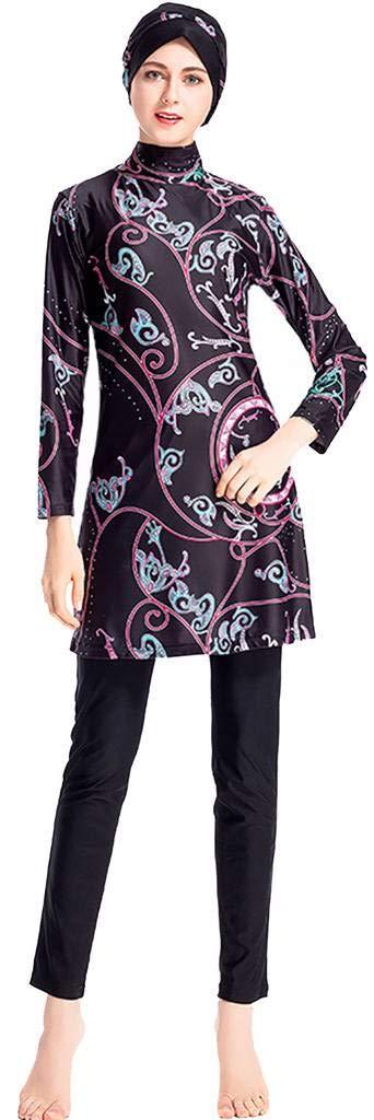 Ababalaya Womens Modest Muslim Islamic Full Cover Print Burkini Swimsuit with Swimming Cap,Black,Tag 3XL= US Size 10-12