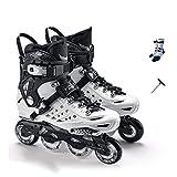 YANGXIAOYU Inline Skates, One-Piece Bracket Inline Skates Set Black White Suitable for Men and Women Boys Girls (Color : White, Size : 38 EU/6 US/5 UK/24cm JP)