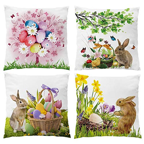 Happy Easter Color Eggs Tree Bunny Rabbit Spring Greetings Flowers New Home Office Decorative Throw Pillow Case Cushion Cover Square 18x18 for Easter Sofa Couch Bed Office Car -