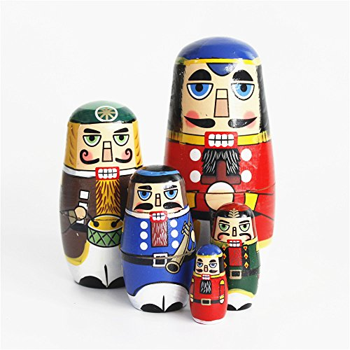 Elloapic 5 Layers Handmade Wooden Nesting Doll Russian Doll Kits Colorful Decoration Kids Gift Birthday (Walnut -