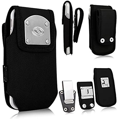 Rugged Heavy Duty Gladiator Duty Belt Case with Metal Clips fits Samsung Galaxy S7 EDGE with a Cover on it. Sales
