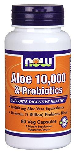 NOW Aloe 10,000 & Probiotics,60 Veg Capsules (Now Foods Plant Enzymes)