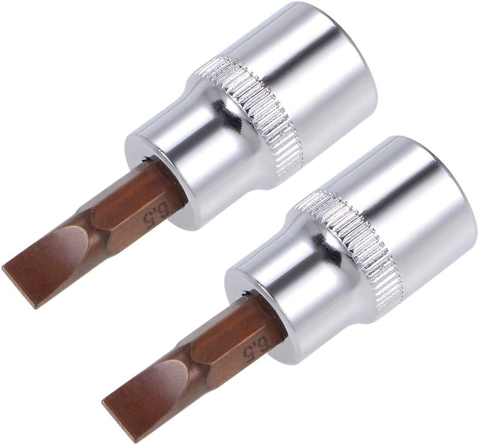 sourcing map 1//4-Inch Drive Bit Socket FD4 S2 Steel 38mm Length 2 Pcs