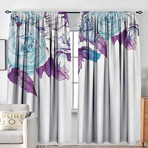 NUOMANAN Sheer Curtains Floral,Vintage Classic Flower Petals Bridal Wedding Romance Shabby Chic Design Art,Pale Blue Purple,Decor Collection Thermal/Room Darkening Window Curtains 54