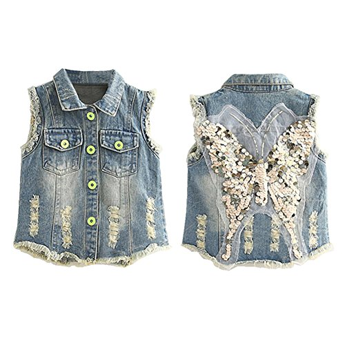 Mud Kingdom Girls' Sequin Butterfly Denim Vest Button-down 6T Blue by Mud Kingdom (Image #1)