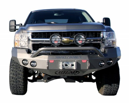 (Road Armor 37204B Satin Black Front Stealth Winch Bumper with Pre-Runner Guard for Chevrolet Silverado)