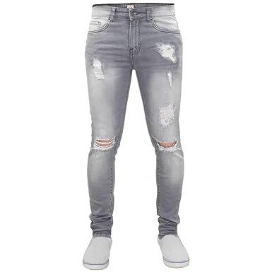 6240ea20 Enzo New Mens Designer Stretch Super Skinny Ripped Denim Jeans Grey:  Amazon.co.uk: Clothing