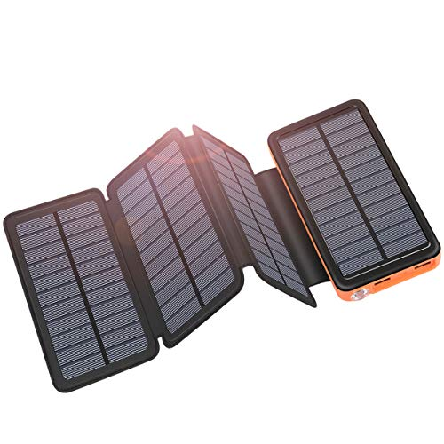Solar Charger 25000mAh ADDTOP Portable Solar Power Bank with Type-C Input for Smart Phones, Ipad, Laptop and Outdoor Waterproof (Best Solar Panel Phone Charger)