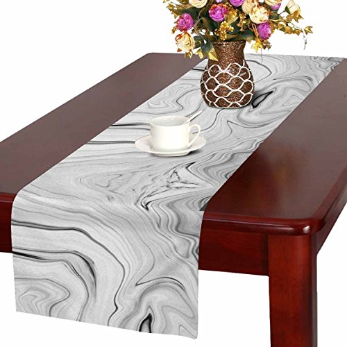 InterestPrint Abstract Marble Stone Black Gray and White Table Runner Linen & Cotton Cloth Placemat Home Decor for Wedding Banquet Decoration 16 x 72 Inches ()