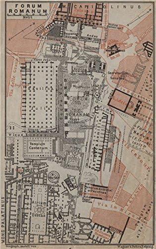 Roman Forum mappa FORUM ROMANUM ground plan Rome BAEDEKER 1909 old