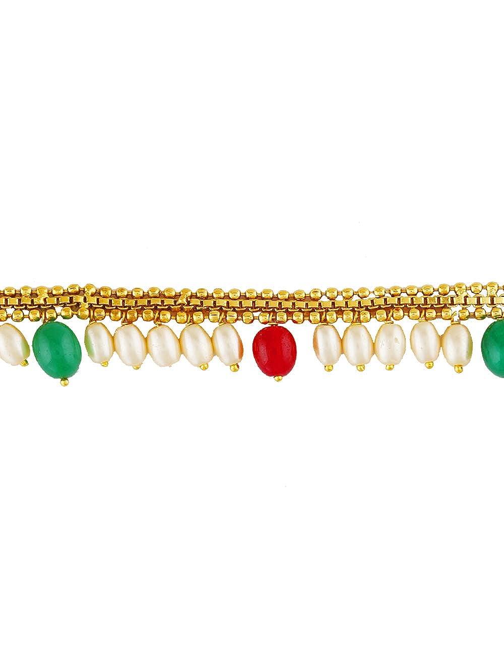 Anuradha Art Red-Green Colour Designer Trendy Kamar-Patta for Women//Girls