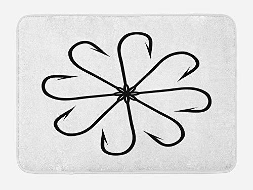 Ambesonne Fishing Bath Mat, Flower Shaped Artisan Steel Multi Hook Gaff in Row New Needle Device Figure Print, Plush Bathroom Decor Mat with Non Slip Backing, 29.5 W X 17.5 (Row Kids Bath)