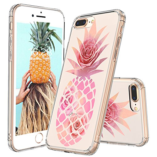 superior quality e89ae 26a4d iPhone 7 Plus Case, Clear iPhone 8 Plus Case, MOSNOVO Pineapple with Rose  Flower Clear Design Printed Plastic Hard with TPU Bumper Protective Cover  ...