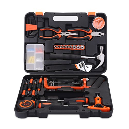 FLOUREON DIY Tool Set Toolkit Set 82PCS Tool kit Basic Household Home with Screwdrivers, Spanner,Saw, Clamp, Hammer, Tester Pen for Garden Garage Bike Car Maintenance Repairing