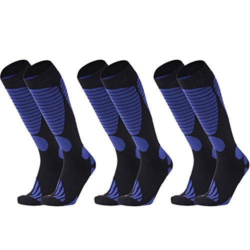 (Mens Hiking Socks, LANDUNCIAGA Winter Over-The-Calf High Performance Adults Snow Lightweight Skiing Running Cushion Socks 3 Pairs,Blue)