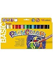 Playcolor 421981 - Pack de 12 temperas solidas, multicolor