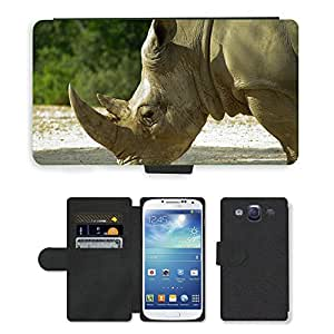 Super Stella Cell Phone Card Slot PU Leather Wallet Case // M00144557 Rhinoceros Horns Wild Animal // Samsung Galaxy S3 S III SIII i9300