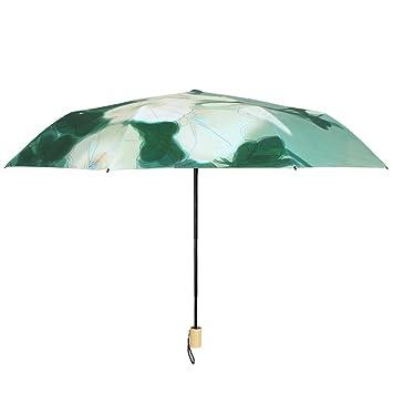 Vinilo Antigüedad Plegable De Protección Solar Protección UV Pequeño Negro Umbrella Creativo Soleado Lluvioso De Doble
