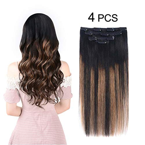 brown black clip in extensions - 9