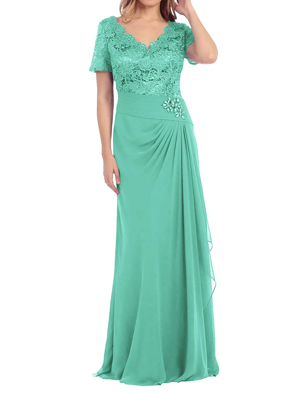 Aqua Mother of The Bride Dress Beaded Lace Prom Evening Gowns