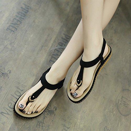 Women's Peep Clip Toe Sandals, T-Strap Elastic Sling Back Fashion Flat Summer Leather Summer Flip Flop Black Pink Blue Beige 2.5-9 Black