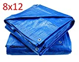 Blue Poly Tarp Cover, Water Proof Tent Shelter, Tarpaulin Multi-purpose, Waterproof Reinforced Rip-Stop with Grommets Every 3 Feet. (8 X 12)