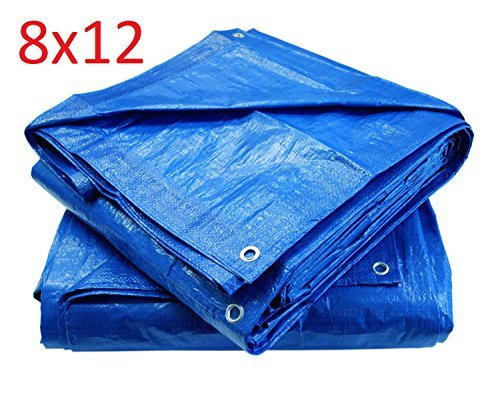 Blue Poly Tarp Cover, Water Proof Tent Shelter, Tarpaulin Multi-purpose, Waterproof Reinforced Rip-Stop with Grommets Every 3 Feet. (8 X 12) by C&W