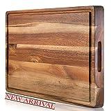 SoulFino EXTRA LARGE Acacia Cutting Board & Butcher Block w/Juice Groove – 17x13x1.4'' Cutting Board