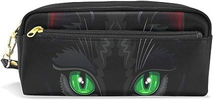 Estuche escolar con diseño de gato negro y ojos verdes para lápices, estuche de gran capacidad para maquillaje, cosméticos, oficina, bolsa de viaje: Amazon.es: Oficina y papelería