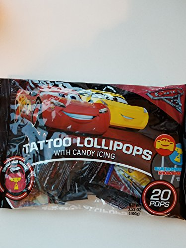 Disney Cars 3 Tattoo Lollipops With Candy Icing 20 Pops 3.52oz Bag Disney Cars Candy