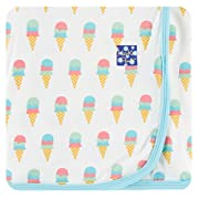 Kickee Pants Little Girls Print Swaddling Blanket - Natural Ice Cream, One Size