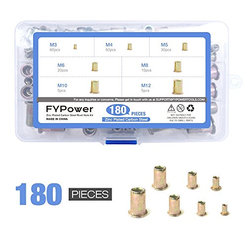 Zinc Plated Carbon Steel Mixed Rivet Nut 180pcs, Threaded Insert Nutsert M3 M4 M5 M6 M8 M10 M12 by FYPower