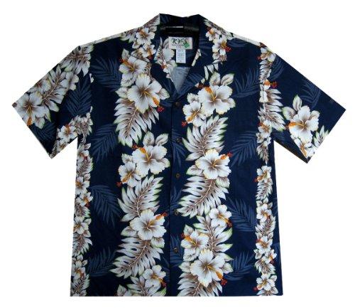 KY's | Original Camisa Hawaiana | Caballeros | S - 3XL | Manga Corta | Bolsillo Delantero | Estampado Hawaiano | Flores | Azul Azul