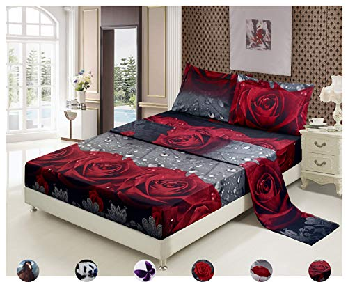 Deep Red Rose - 4 Piece Set Superior 3d Print Stylish and Vivid Pattern Deep Pocket Bed Sheet Set,Red Roses with Sparkling Dewdrops and Grey Leaves (Queen, Rose Love)