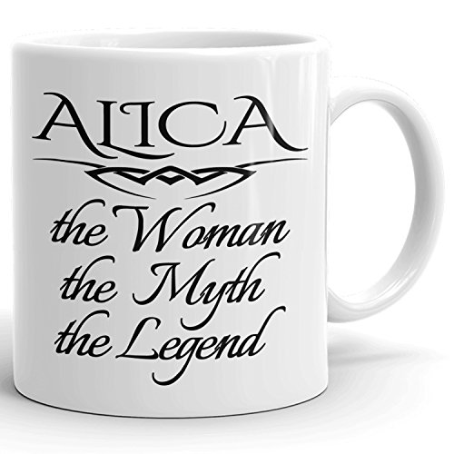 Best Personalized Womens Gift! The Woman the Myth the Legend - Coffee Mug Cup for Mom Girlfriend Wife Grandma Sister in the Morning or the Office - A Set 2