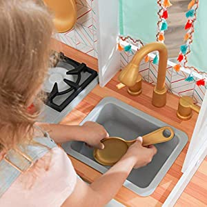 KidKraft Kensington Market Wooden Kids Kitchen Playset with Lights, Sounds & Kitchen Toys for Boys & Girls (Toddlers…