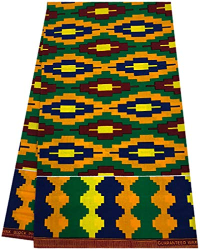 Kente Print African Print Fabric Tribal African Wax Print 6 Yards 100% Cotton African Printed Dresses and Head tie for Men & Women