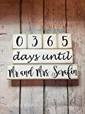 365 Days Until Mr. and Mrs. Wedding Countdown Blocks Personalized with Last Name