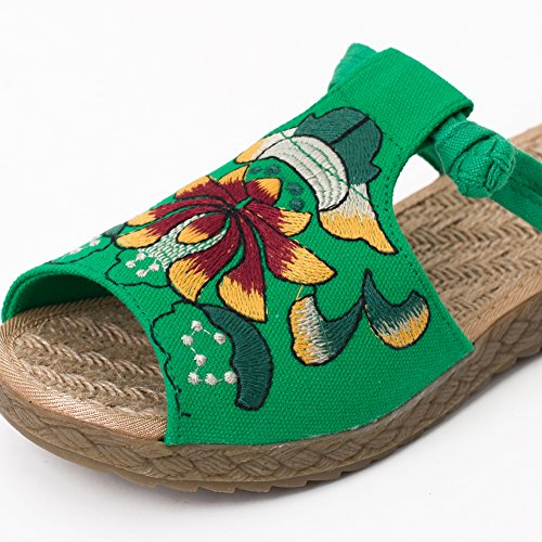 fereshte Hand-Made Chinese Style Embroidered Linen and Cotton Slip-on Women Espadrilles Slipper 536green QmIjDClqZ