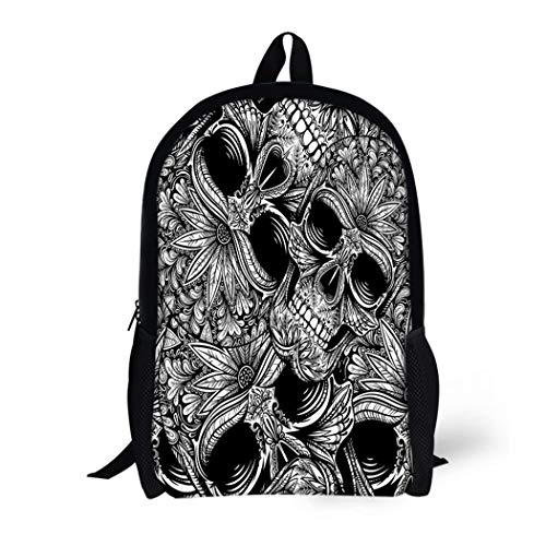 Pinbeam Backpack Travel Daypack Pattern Black and White Tattoo Skull Flower Halloween Waterproof School -