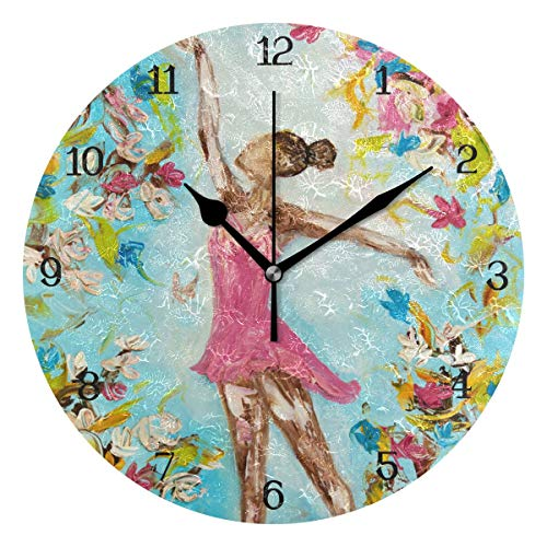 (Anmarco Ballerinas Ballet Girl Wall Clock, 10 Inch Silent Non Ticking Quartz Battery Operated Round Wall Clocks for Home/Office/School Clock)