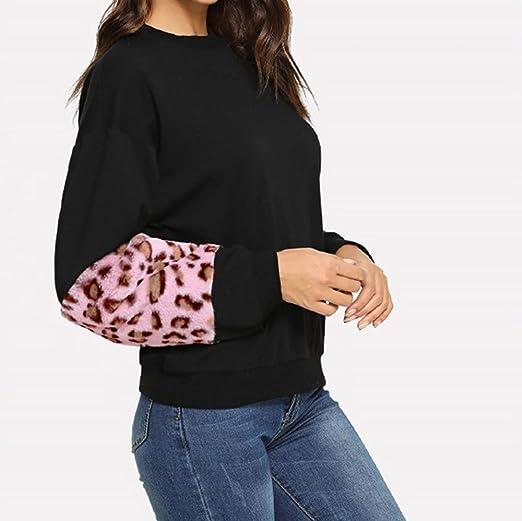 Luckycat Las Mujeres de otoño Leopardo Patchwork Suelto O Cuello de Manga Larga Camisas Tops Blusas: Amazon.es: Ropa y accesorios