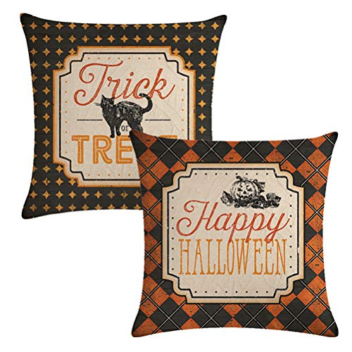 ULOVE LOVE YOURSELF 2Pack Halloween Decor Pillow Covers Black Cat/Pumpkin Pattern Pillow Case with Happy Halloween/Trick or Treat Quote Decorative Pillow Cushion Cover 20 x 20 ()