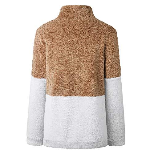 Patchwork Caldo Giacca Mescara Cerniera Inverno Felpa Manica Donna Con Lunga Marrone Cappotto Pullover Collo Tenere Top Alto 4qBYUq