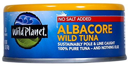 Wild Planet Wild Albacore Tuna, No Salt Added, 5 Ounce Can (Pack of 12)