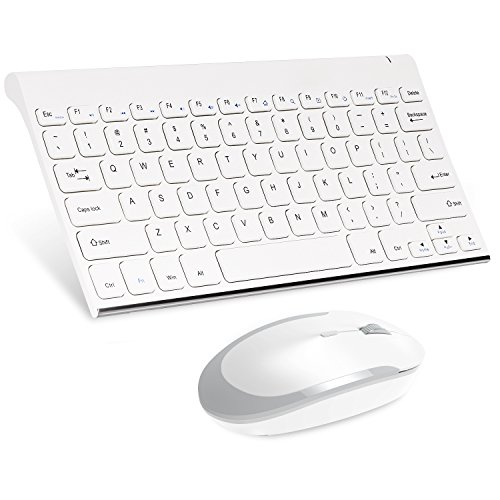MoKo Slim 2.4G Keyboard + Mouse, Universal Rechargeable Wireless Keyboard & Mouse Combo, for Laptop / Desktop / PC / Computer- White