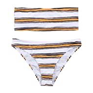 [Sponsored]Women's Strapless Bra Horizontal Stripe Bandeau Bikini Bottom Set Swimsuit